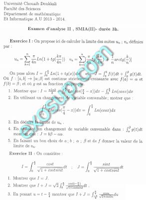 examens de la filière SMIA S2 faculté
