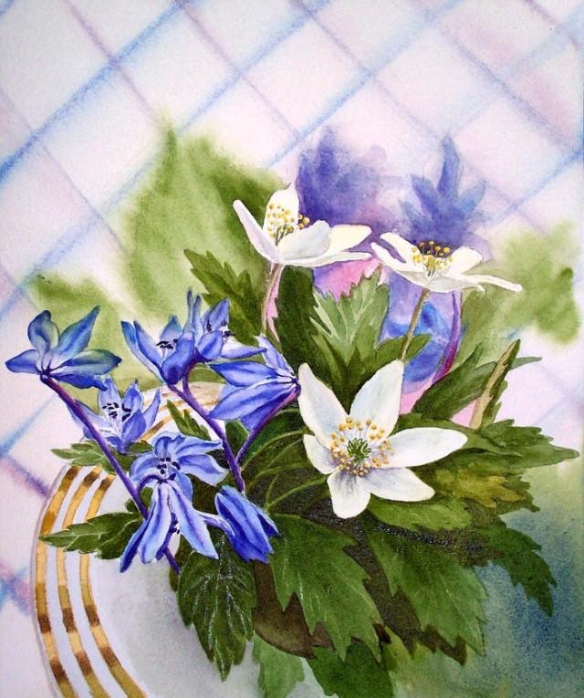 Цветы и цветочные натюрморты акварелью. Irina Sztukowski 25