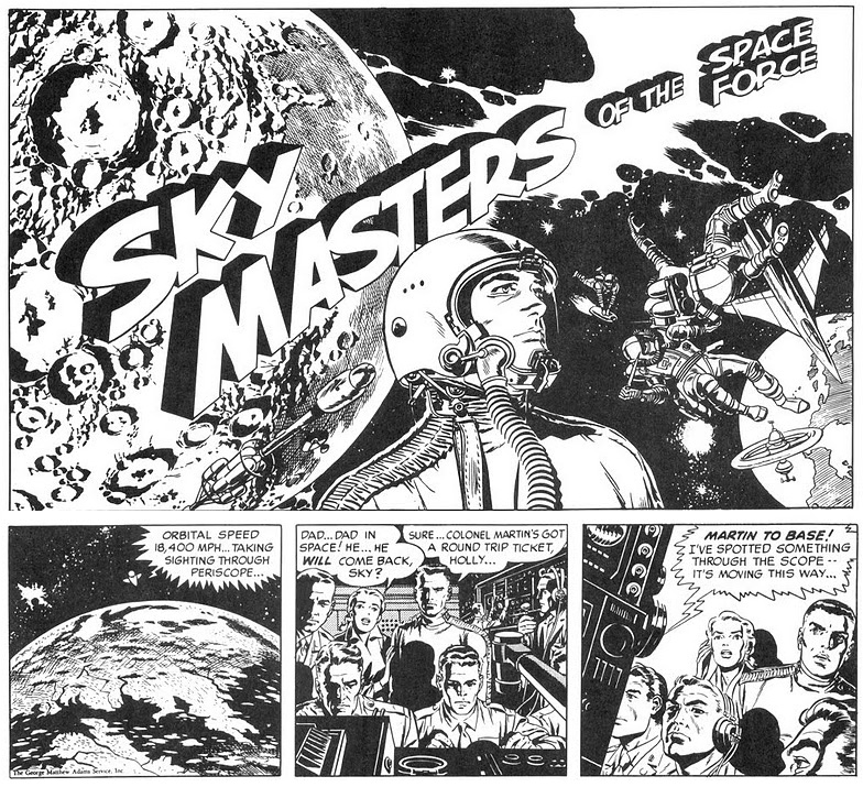 ... Wood inked Dave Wood and Jack Kirby's Sky Masters newspaper strip,  selected for the job - no doubt - because of his stints on the Weird Science/Fantasy  ...