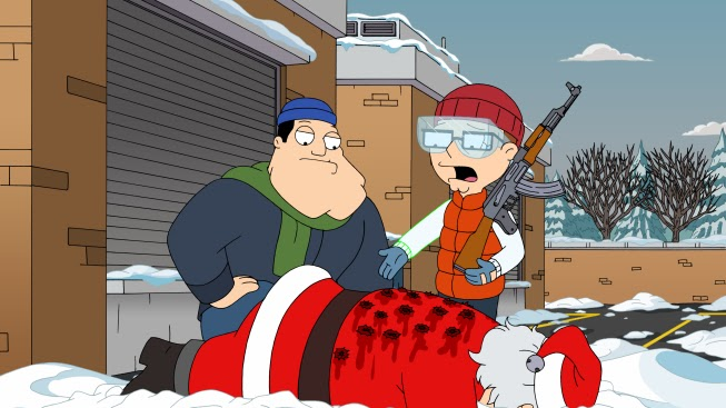 it only results in santa being shot and manning a mission to murder the smith clan in the bloodiest christmas episode seth mcfarlane has ever produced - Family Guy Christmas Special