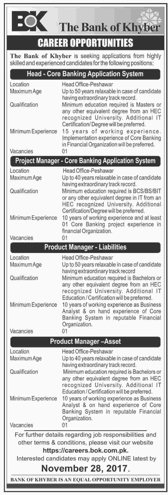 Jobs In The Bank Of Khyber Nov 2017