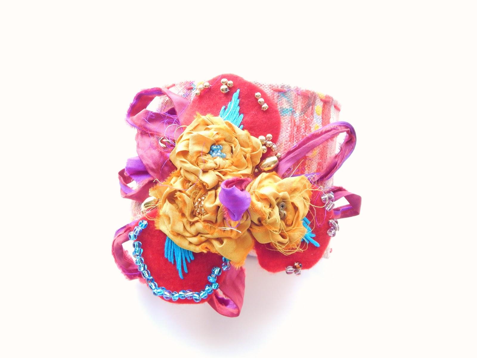 Wrist Cuff, Wristlet, Bracelet, handmade, colorful, gypsy wrist cuff