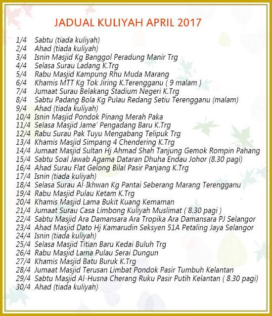 Jadual Kuliah Ustaz Azhar Idrus (UAI) April 2017