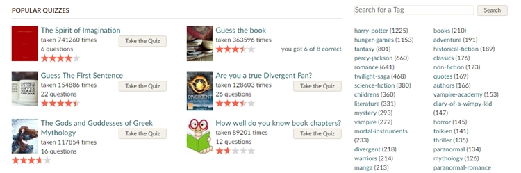 goodreads quizzes