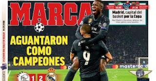 الصحافة الإسبانية تبرز معاناة ريال مدريد ضد أياكس بالفيديو والصور