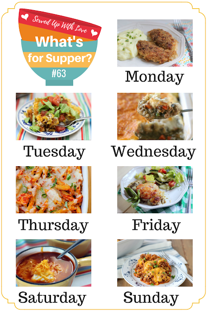 Meal planning made easy with What's for Supper Sunday over at Served Up With Love. Oh So Good Crispy Chicken, Stuffed Pepper Casserole, Taco Pie, Chicken Parmesan Casserole, Crock Pot Chicken Taco Soup, and more.