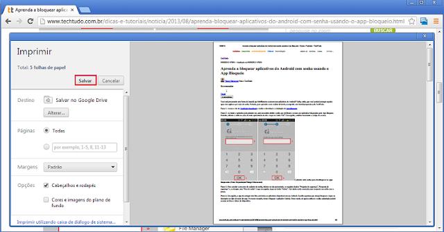 Como salvar páginas em PDF com o Chrome