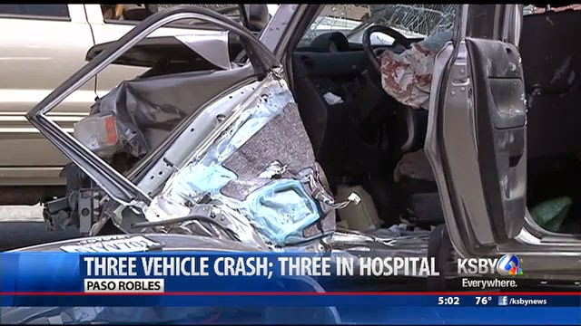 Serious Injuries car crash paso robles highway 46 three vehicles