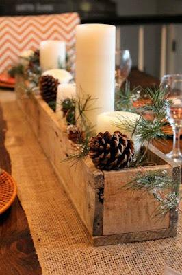 centros de mesa navideños en cajas de madera