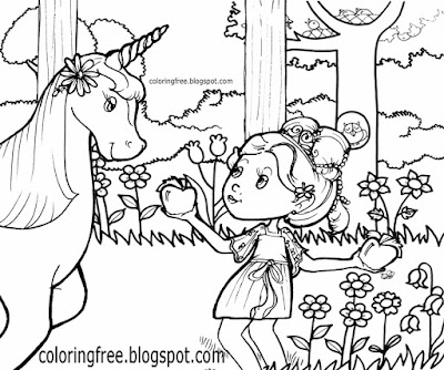 Cute pony creatures mythical world flower woodland pretty girls coloring pages unicorn clipart image