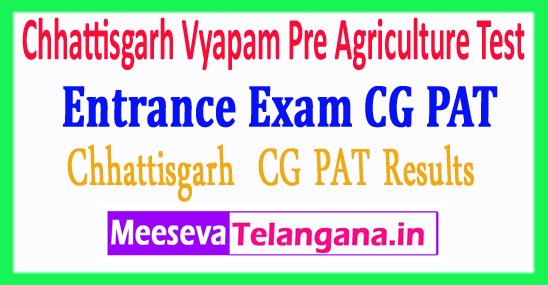 Chhattisgarh Vyapam Pre Agriculture Test Entrance Exam CG PAT Result 2018