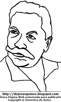 Imagen de Federico Villarreal para colorear pintar imprimir. Dibujo de Federico Villarreal de Jesus Gómez
