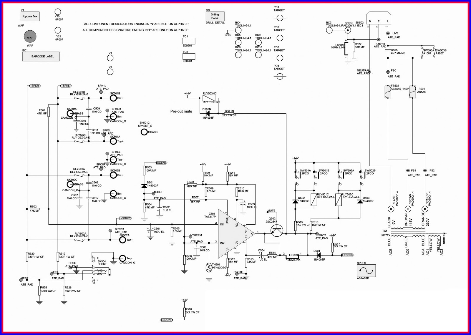The board is powered by +/- 15V regulated rails from the main pcb and the  +15V rail is then regulated to 6.3V by Q1 and D1, D2 to power the moving  coil ...