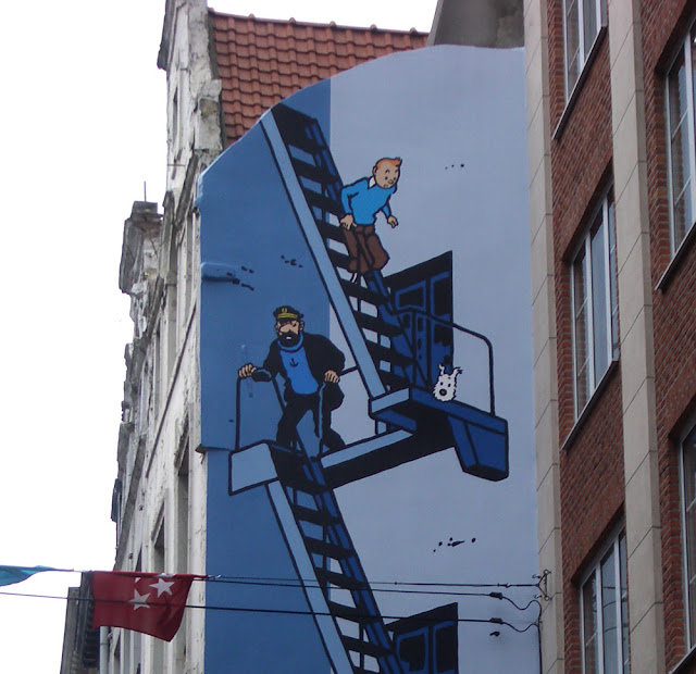 Tintin in Brussels Comic Mural