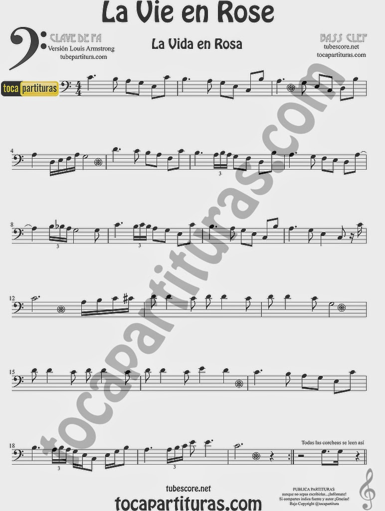 La Vida es Rosa Partitura de Chelo y Fagot La Vie es Rose sheet music for cello and bassoon