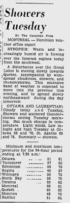 Ottawa - Toronto temperature forecast for July 25, 1950