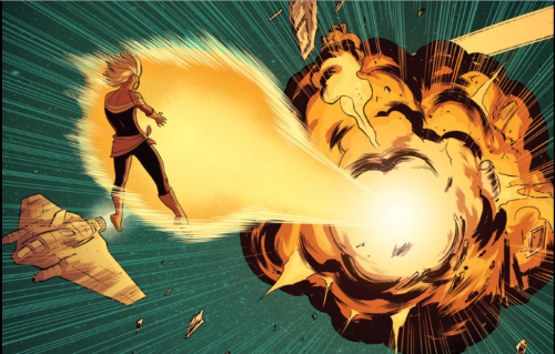 Carol floats in space. A massive blast of power leaves her hands and travels to a spaceship, which explodes.