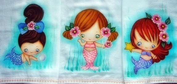 pintura em tecido infantil fralda bebe menina sereia