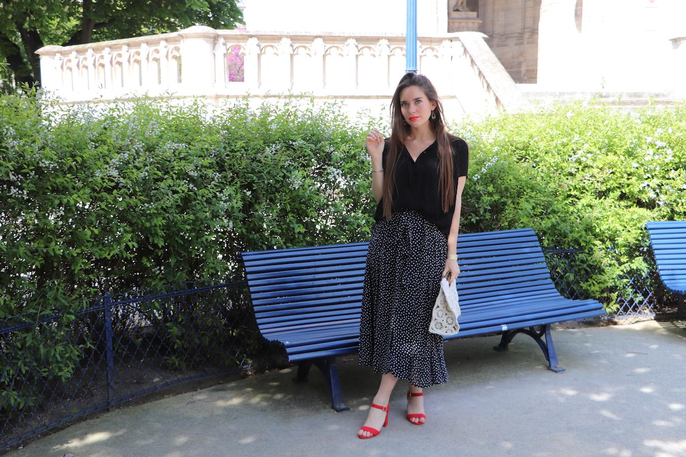 jupe longue plissée à pois 6