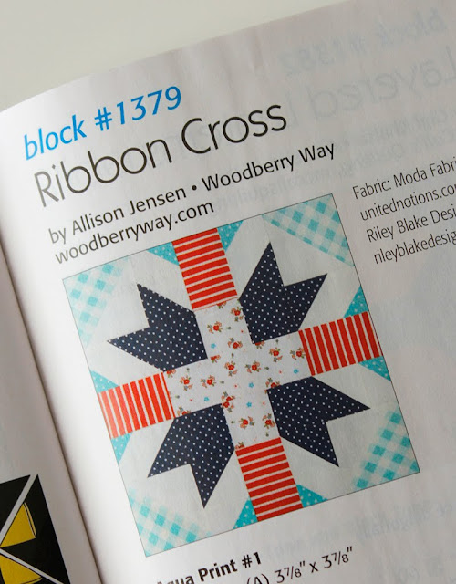 Ribbon Cross quilt block designed by Allison Jensen