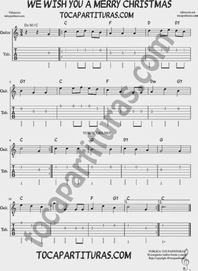 We wish you a merry christmasTablatura y Partituras del Punteo de Guitarra Tabs Villancico Tab sheet music for guitar melody Christmas Song DO MAYOR / C