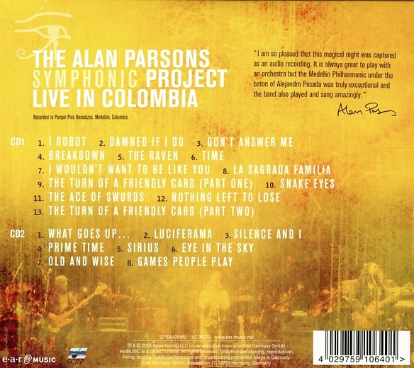 THE ALAN PARSONS SYMPHONIC PROJECT - Live in Colombia (2016) back