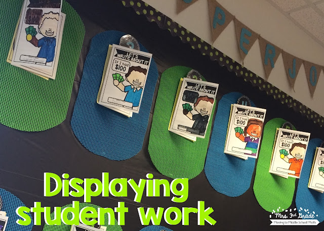 Using numbers on student display work boards is a great way to have students know where their work is going to be and make sure that you have every student's work up!