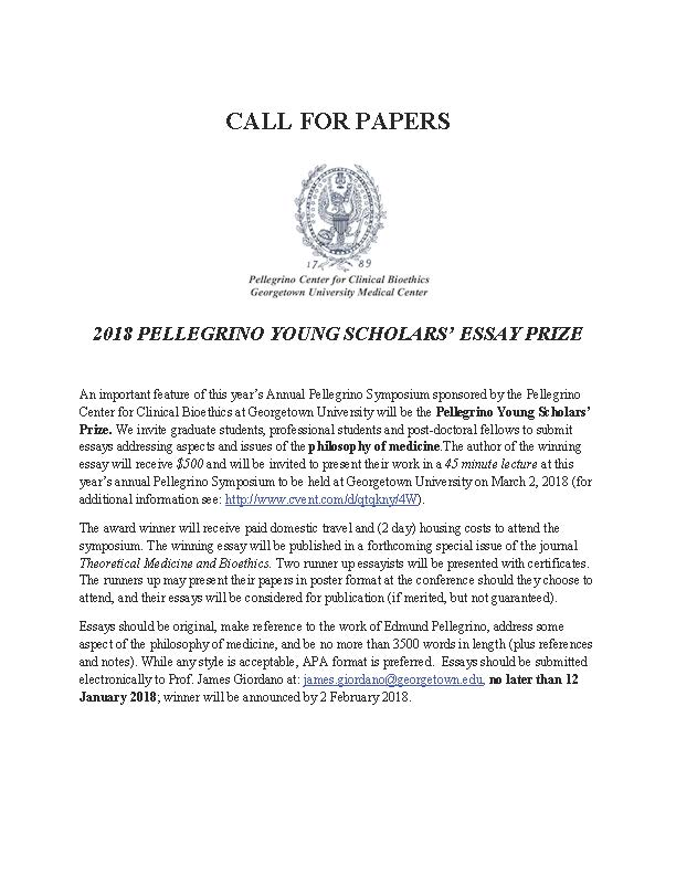 annual pellegrino seminar philosophy of medicine paper award  the winner will be rewarded an opportunity to present their paper at this national meeting as well as transportation hotel and a cash award