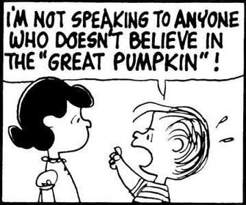 not speaking to anyone who doesn't believe in the great pumpkin, Charlie Brown halloween, Charlie Brown comic, Peanuts halloween, Peanuts great pumpkin