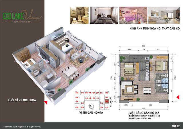 Thiết kế căn hộ 04A chung cư ECO LAKE VIEW