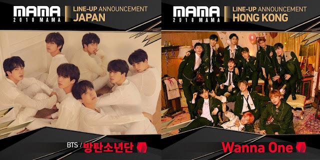 BTS, TWICE, Wanna One dan IZ*ONE Dikonfirmasi Hadir di MAMA 2018