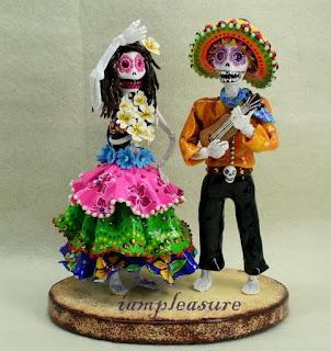 Skull Hawaiian Wedding Cake Toppers