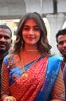 Puja Hegde looks stunning in Red saree at launch of Anutex shopping mall ~ Celebrities Galleries 103.JPG
