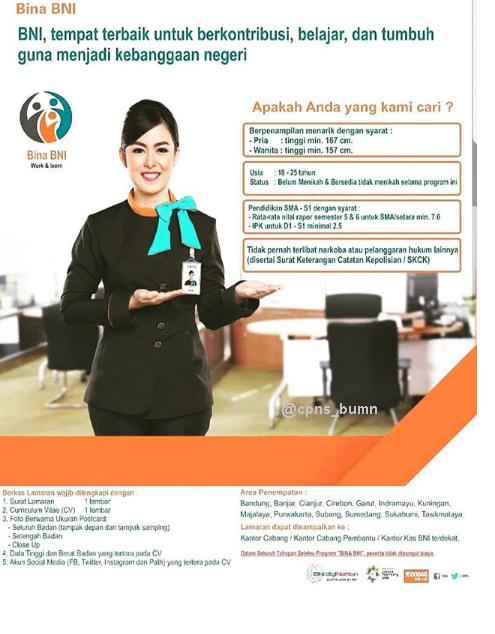 Rekrutmen BINA BNI Bandung, Banjar, Cianjur, Cirebon, Garut, Indramayu, Purwakarta, Kuningan, Subang, Sumedang, Sukabumi dan Tasikmalaya