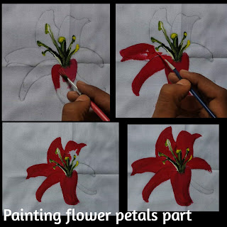 flower petals painting, fabric painting on clothes, step by step tutorial, fabric painting, flower painting, easy painting of flower