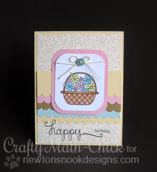 Floral basket birthday card by Crafty Math Chick | Basket of Wishes by Newton's Nook Designs