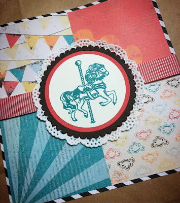 Stamping to Share Spring Fling Project Bag created with Carousel Birthday and Cupcakes and Carousels 6x6 paper pack.