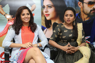 Actress Suma in Black Salwar Suit and Anusuya in orange Dress at winner movie press meet part 2 February 2017 (54).JPG