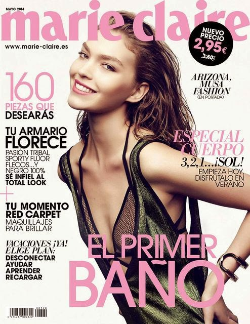 Arizona Muse wears a mesh bra for the Marie Claire Spain May 2014 cover