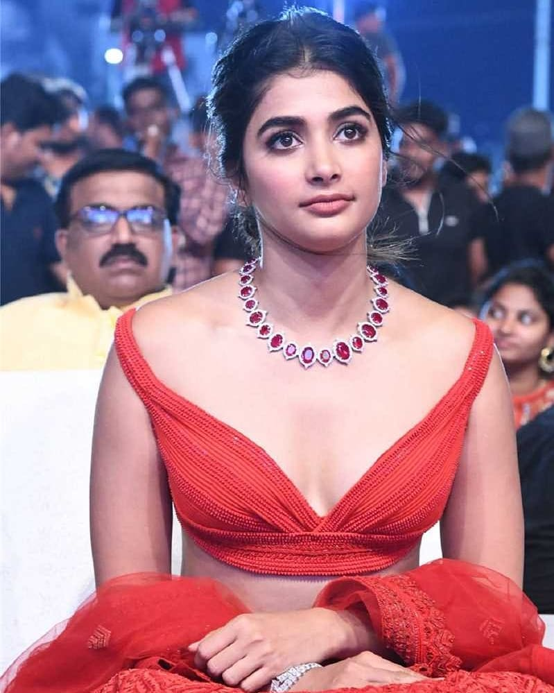Pooja Hegde hot in maharshi success meet.