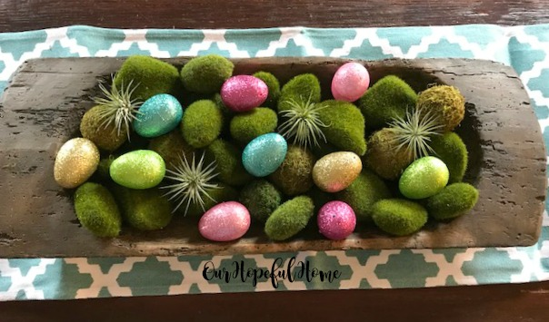 dough bowl glitter eggs moss rocks air plants Easter centerpiece