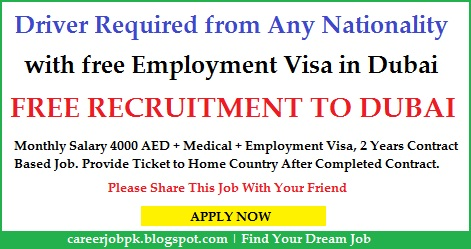 Car Driver jobs in Dubai with free Employment Visa