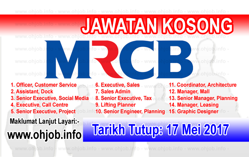 Jawatan Kerja Kosong MRCB - Malaysian Resources Corporation Berhad logo www.ohjob.info mei 2017
