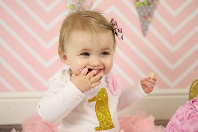 first birthday cake smash pink chevron backdrop