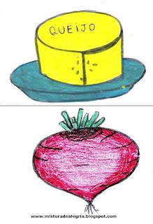 Desenho de queijo e beterraba