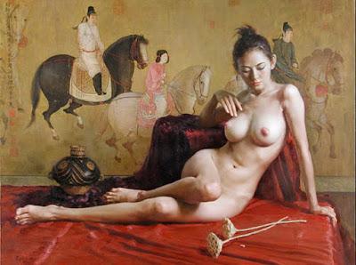 oleos-de-mujeres-chinas-desnudo-artistico-guan-zeju