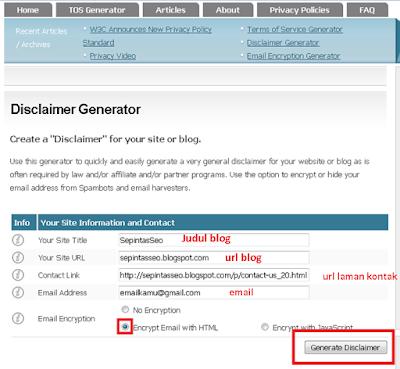 Cara mudah membuat laman Disclaimer di Blog