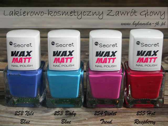 Lakiery My Secret Wax Matt Nile Blue Baby Blue Violet Trend Hot Raspberry
