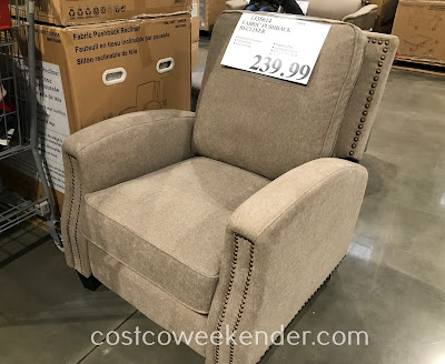 Watch tv, read a book, or take a quick nap on the Fabric Pushback Recliner
