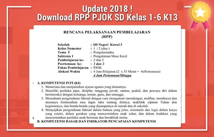 Download RPP PJOK SD Kelas 1-6 Kurikulum 2013